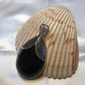 Silver .925 Black Onyx Teardrop Pendant